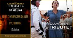 I voted for Katniss as Tribute for The Hunger Games Tribute Awards #TheHungerGamesTribute  tribute.thehungergames.movie