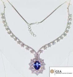 GIA Certified Natural 26.9CTS VS F Diamond Tanzanite 18K Solid Gold Collar Riviera Pendant Necklace