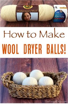 to Make Wool Dryer Balls! Toss the dryer sheets and use these all-natural dryer balls instead! Step-by-step tutorial at How to Make Wool Dryer Balls! Toss the dryer sheets and use these all-natural dryer balls instead! Step-by-step tutorial at Frugal, Diy Cleaners, Cleaners Homemade, Household Cleaners, Cleaning Recipes, Cleaning Hacks, Diy Hacks, Cleaning Supplies, House Cleaning Tips