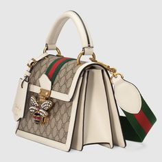 Shop the Queen Margaret small GG top handle bag by Gucci. An eclectic mixture of historical Gucci details and newly established codes, the Queen Marga. Prada Handbags, Coach Handbags, Purses And Handbags, Leather Handbags, Luxury Bags, Luxury Handbags, Luxury Purses, Gucci Padlock, Leather Key Case