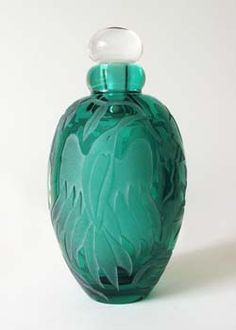 Marialyce Hawke - Green Perfume Bottle With   Birds and Flowers  5-1/2 x 3