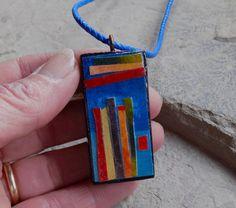 Stripes Double-sided Wearable Art Necklace by ArtofJane2 on Etsy