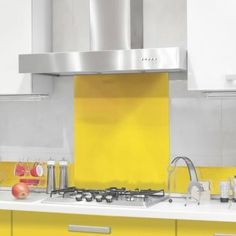 Yellow - Colour Glass Splashback X & Two Upstands [Yellow Colour Splashback & 2 Upstand set] - : Cooker Hoods, Hobs and Ovens from PremierRange House Design, Cooker Hoods, Glass House, Glass, Yellow Kitchen, Kitchen Splashback, Glass Splashback, Flat Ideas, Radiator Cover