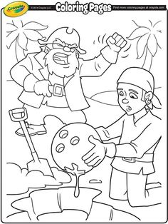 Check Out This Printable Coloring Page Of Pirates Digging Up Their Treasure