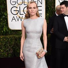 Diane Kruger in the Emerald-cut diamond three stone ring