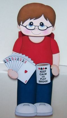 3D On the Shelf Card Kit - Card Player Micah enjoys a rubber of Bridge - Photo…