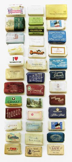 Typology of vintage travel soap. via Mrs. Easton. #collection #collecting #design #packaging