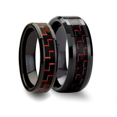 Matching Ring Set Beveled Black Ceramic Anniversary Ring with Black & Red Carbon Fiber - 6mm& 8mm
