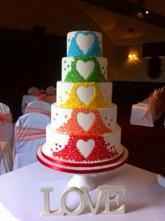 wedding cake inspiration but in mint and peach colours