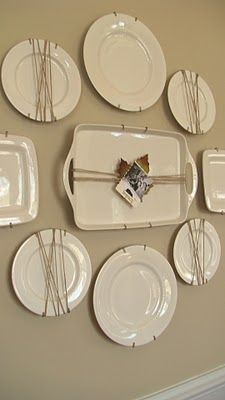 plate wall -- twine-wrapped around select plates, added a leaf and old photo for Fall -- Adventures in Decorating: Our Fall Dining Room . Plate Wall Decor, Plates On Wall, Cocina Shabby Chic, Silver Platters, Hanging Plates, Plate Display, Vintage Plates, Vintage Pyrex, White Plates