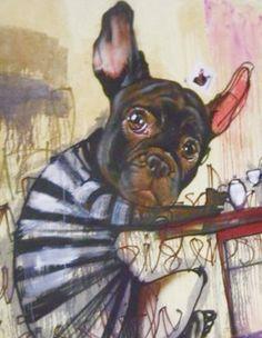 French Bulldog Tea Party, street art, pop art, illustration.
