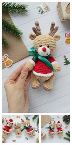 Amigurumi Christmas Reindeers Free Pattern – Amigurumi Free Patterns And Tutor. Amigurumi Christmas Reindeers Free Pattern – Amigurumi Free Patterns And Tutorials Always wanted to discover how to knit. Crochet Christmas Ornaments, Christmas Crochet Patterns, Christmas Knitting, Crochet Patterns Amigurumi, Christmas Crafts, Crochet Decoration, Stuffed Toys Patterns, Yarn Crafts, Crochet Projects