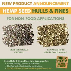 NOW AVAILABLE: Hemp Seed Shells for bio-char, hemp cushions, eco-friendly mattresses and much more! Order online today! Hemp Seeds, Buckwheat, Mattresses, Biodegradable Products, Warehouse, Shells, Eco Friendly, Cushions, Organic