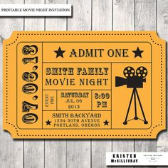 Printable Movie Ticket Birthday Invitation | Movie Event ...