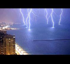 Lightning striking Lake Michigan