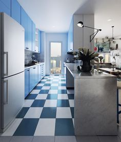 A new apartment design by me..... Scandinavian style with color is blue - white..!!!!!
