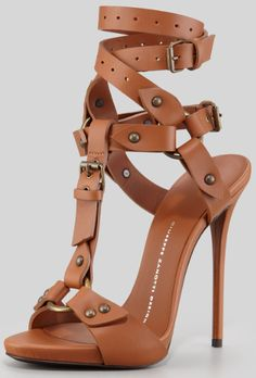Giuseppe Zanotti Ankle-Wrap T-Strap Leather High-Heel Sandal Tan $1350.00 #shoes #highheels - CLICK HERE for more: http://www.needcuteshoes.com/products/giuseppe-zanotti-ankle-wrap-t-strap-leather-high-heel-sandal-tan/