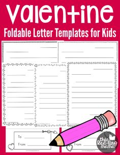 Writing Valentine Letters - Free Foldable Valentine Letter Templates for Kids - This Reading Mama