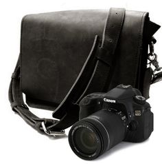 No. 14 Mission Camera Bag - Black - Thick Full Grain Leather Padded Camera Insert Divider Padded Bottom Made in the U.S.A. Water Resistant. $154.50, via Etsy.