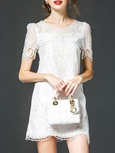 Embroidered Silk Mini Dress