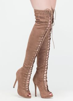 Revamp your entire look with the addition of these lace-up over-the-knee heeled boots! #boots #peeptoe #laceup #overtheknee #fashion #inspo #shoes #heels #gojane