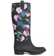 Desigual černé holínky Amapola Rainboot s květinovými vzory