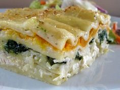 Skinny white chicken lasagna