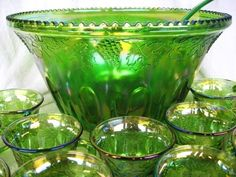 Grandma's Carnival Glass Punch Bowl, Ladle & mugs - I have a blue set just like this! It was a wedding gift in 1976