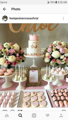 Ideas For Baby Shower Girl Lila Birthdays Cheap Party Decorations, Girl Birthday Decorations, Baby Shower Decorations, 18th Birthday Party, Birthday Table, Boxing Theme Party Ideas, Pink Dessert Tables, 1st Birthdays, Wedding Desserts
