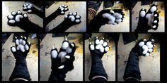 Handpaws with plushy pads and elbow-length sleeves, made for an Etsy customer.