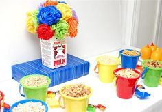 ~Cereal bar.......colorful kids buckets