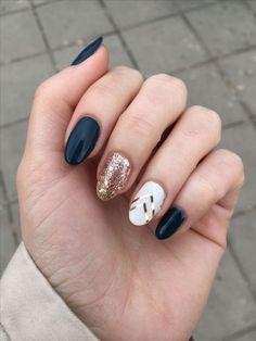 nails french tip with design nails french tip ; nails french tip color ; nails french tip with design ; nails french tip glitter ; nails french tip ombre ; nails french tip acrylic ; nails french tip coffin ; nails french tip short Accent Nail Designs, Acrylic Nail Designs, Navy Blue Nail Designs, Pretty Nails, Fun Nails, Nice Nails, Cute Fall Nails, Basic Nails, Glitter Accent Nails