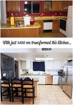 this is really cool, but the only way they did it for this amount of $ was to call in favors, had their own appliances etc.... still cool though!!  Budget friendly Kitchen Update - www.classyclutter.net