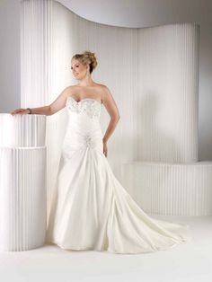 Sweetheart with dropped waist taffeta bridal gown
