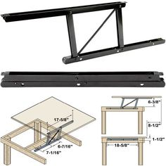 "Woodtek 164228, Hardware, Table, Folding Table Hardware, Coffee Table Top Lift Mechanism-L+r, 1 Pair by Woodtek. $49.99. Coffee table lift raises top for dining or reading. Woodtek® spring loaded lift raises coffee table top to dining or reading height. Designed for use on wood frame tables with slab tops approximately 24"" wide x 48"" long. Table top should be in the range of 18-22 lbs for best operation. All steel frame with spring assist. Black ed (e-coat) fini..."