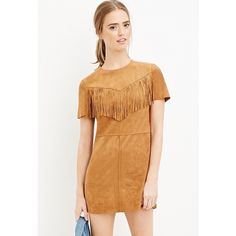 Forever 21 Forever 21 Women's  Fringed Faux Suede Dress ($25) ❤ liked on Polyvore featuring dresses, fringe sleeve dress, round neck dress, day dresses, faux suede dress and forever 21 dresses