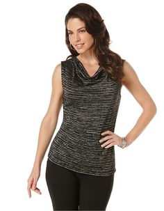 Lurex Stripe Cowlneck Tank from Lord & Taylor on Catalog Spree