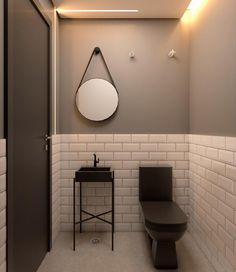 Need to find a hanging bathroom mirror like this. Bathroom Inspiration, Powder Room, Interior Architecture, Bathroom Lighting, Home Improvement, Wall Lights, House Design, Home Decor, Ideas