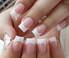 french nails acrylic Manicure Ideas in 2020 French Nails, French Tip Acrylic Nails, White Tip Nails, Square Acrylic Nails, Summer Acrylic Nails, Cute Acrylic Nails, Cute Nails, Pretty Nails, Manicure Nail Designs