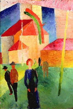 August Macke (German, 1887-1914)  'Church Decorated with Flags', 1914