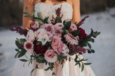 Organic Garden Bouquet   Style: Romantic, Wispy   Details: Clooney ranunculus, hellebore, scabiosa, burgundy peonies, heather, ruscus, salal   Wild Hill Flowers & Events {Photo courtesy of  Morgan Barrett }