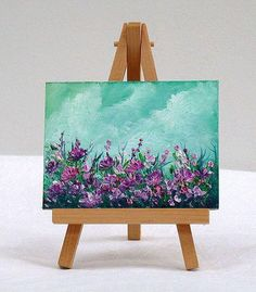 Purple Flowers, 3x4 inches, original miniature oil painting, gift item,