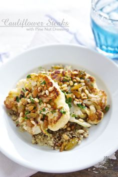 Cauliflower Steaks with Pine Nut Dressing | Modern Pioneering by Georgia Pellegrini GIVEAWAY | FamilyFreshCooking.com