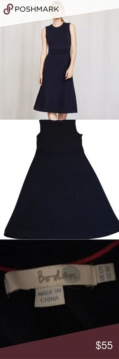 Ellie Navy Knitted Dress Never worn, fit and flare knitted navy blue dress. Hits just below knees on my 5'5 frame Boden Dresses Midi