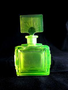 Art Deco Era Signed Czech Vaseline Glass Perfume Bottle