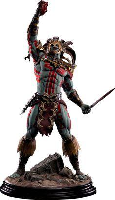 Mortal Kombat Kotal Kahn - Blood God Statue by Pop Culture S Mortal Kombat, Aztec Emperor, Pop Culture Shock, Aztec Tattoo Designs, Aztec Warrior, Aztec Art, Transformers Art, Fantasy Warrior, Sideshow Collectibles