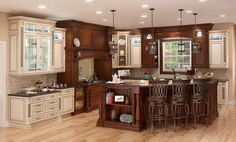 Covered Bridge Cabinetry- Two Toned French Style Kitchen Glass Front Cabinets, First Kitchen, French Country Style, Kitchen Cabinetry, Covered Bridges, Storage Solutions, Furniture, Home Decor, Kitchen Cabinets