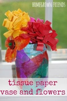 Perfect homemade gift to give a loved one. Love this DIY tissue paper vase and flowers from Homegrown Friends!