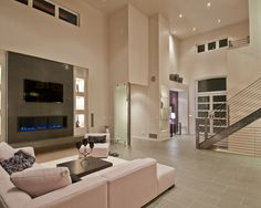 Modern Family Room Fireplace Design, Pictures, Remodel, Decor and Ideas - page 3