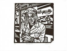 """Road-Worker, Hillbrow, Johannesburg, 1975""- linocut by Norman Kaplan. http://normankaplan.co.za/ Tags: Linocut, Cut, Print, Linoleum, Lino, Carving, Block, Woodcut, Helen Elstone, Anti-apartheid, Exile, South Africa, Dignity, Political."